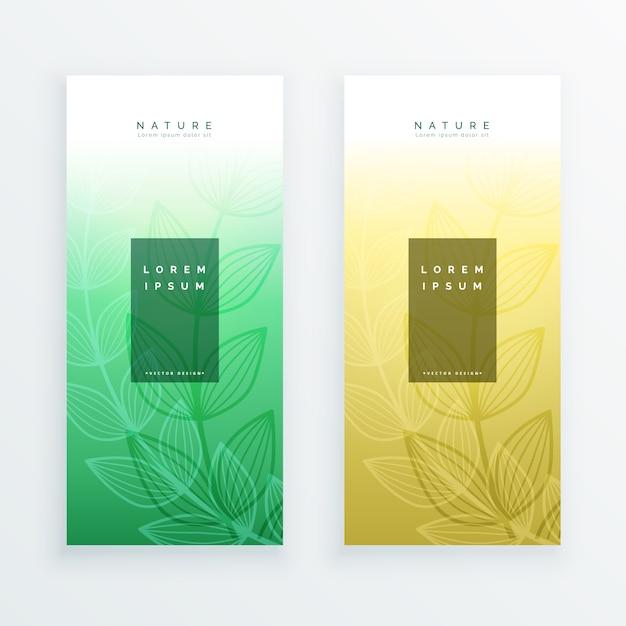 elegant eco leaves vertical banners Free Vector