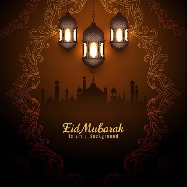 Elegant eid mubarak festival decorative brown background Free Vector