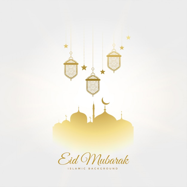Elegant eid mubarak festival greeting with lamps and mosque Free Vector