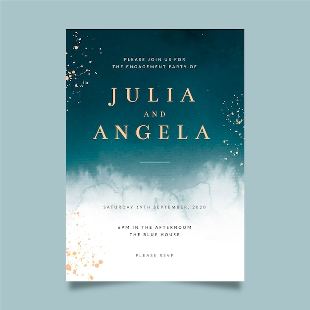 Elegant engagement invitation template Free Vector