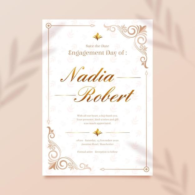 Elegante modello di invito di fidanzamento Vettore gratuito