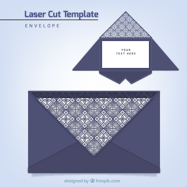 Elegant Envelope Template With Laser Cut Vector  Free Download