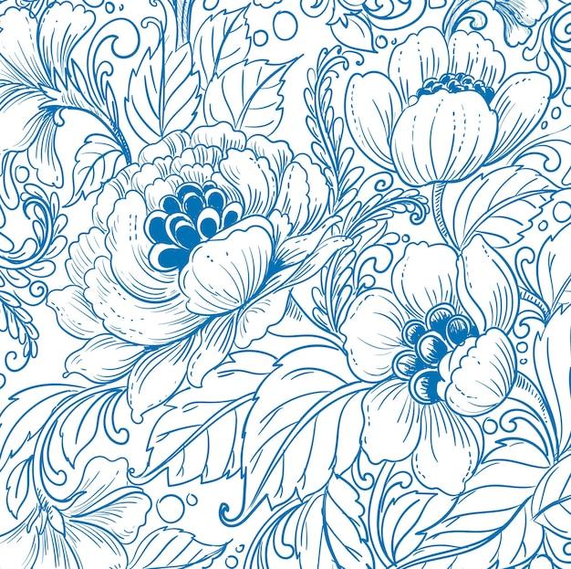 Элегантный этнический декоративный синий цветочный узор Бесплатные векторы