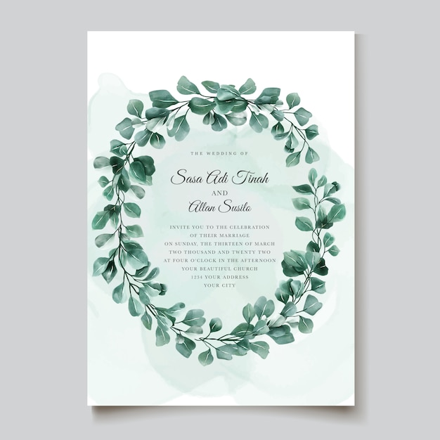 Elegant eucalyptus invitation card template Free Vector