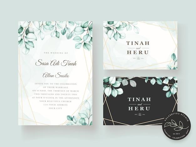 Elegant eucalyptus wedding invitation card set Free Vector