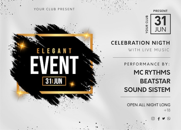 Elegant event party banner with black splash Free Vector