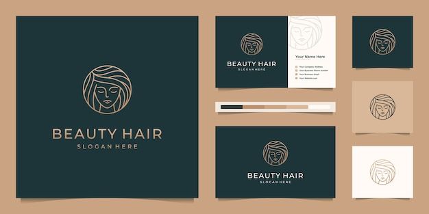 Elegant face woman hair salon gold gradient line art logo design and business card Premium Vector