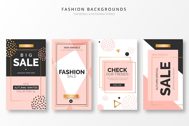 Elegant fashion backgrounds for insta stories Free Vector