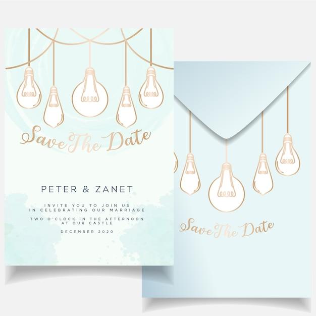 Elegant feminine event wedding invitation card set botanical theme Premium Vector