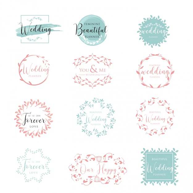 Elegant and feminine floral wedding logo collection Premium Vector
