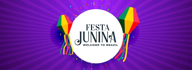 Elegant festa junina purple banner design Free Vector