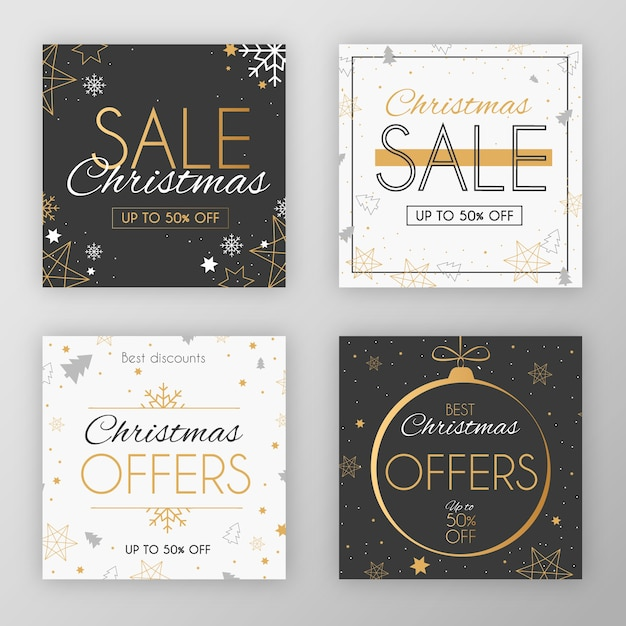 Elegant festive christmas social media post sale collection Free Vector