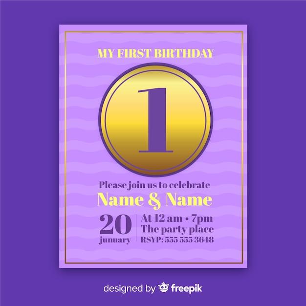 Elegant first birthday invitation card Free Vector