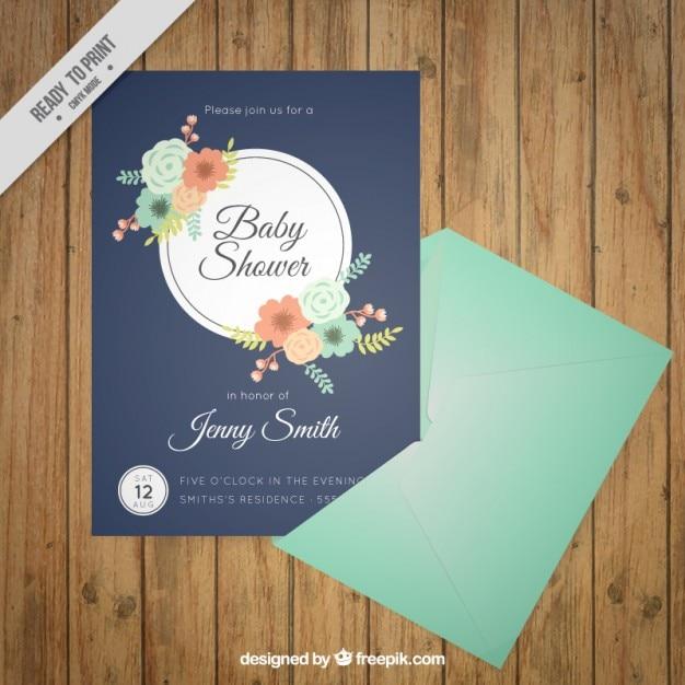 39abfc652 Elegant floral baby shower card Vector