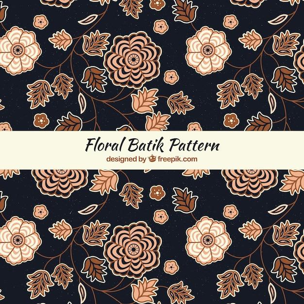 Elegante motivo floreale batik Vettore gratuito