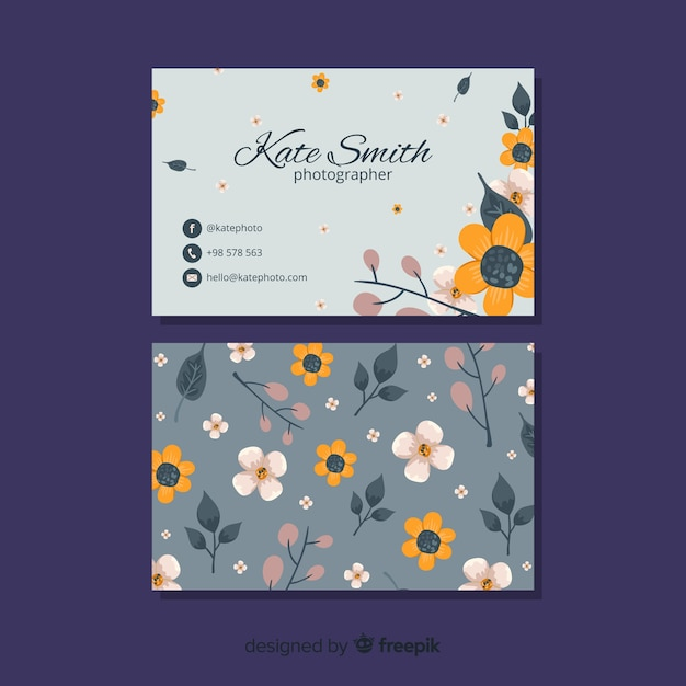 Elegant floral business card template Free Vector
