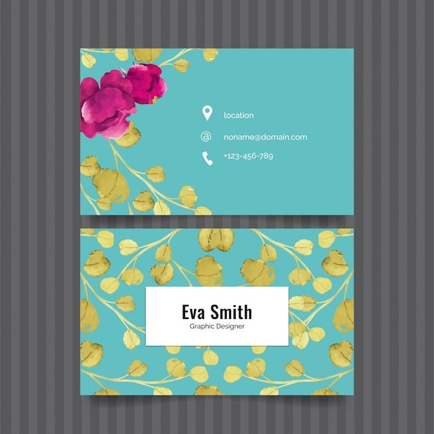 Elegant floral business card Premium Vector