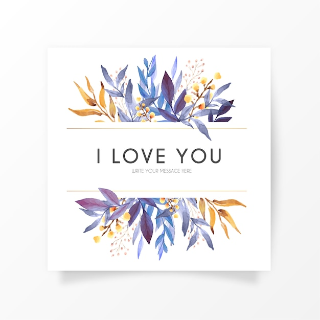 Elegant floral card with love message Free Vector