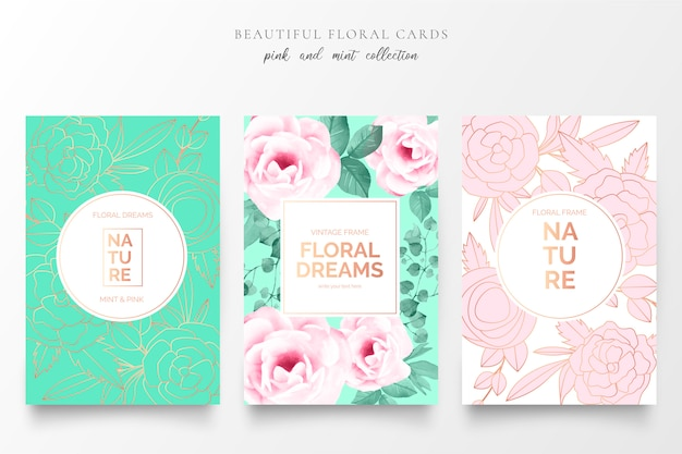 Elegant floral cards in pink and mint colors Free Vector