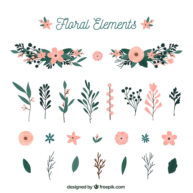Elegant floral element collection with flat design Free Vector