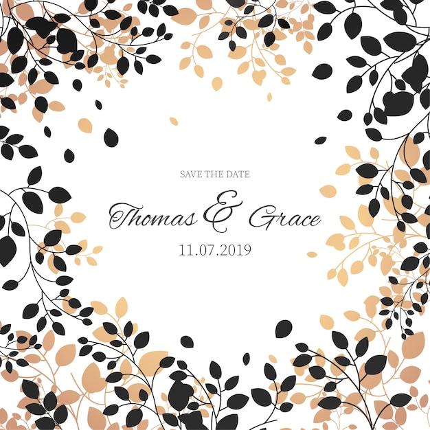 Elegant floral frame for wedding invitation Free Vector