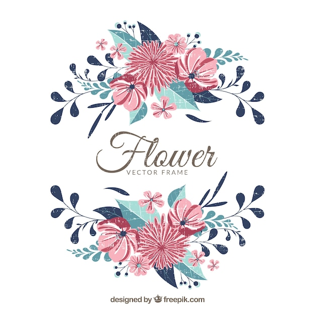 elegant floral frame with red flowers vector free download