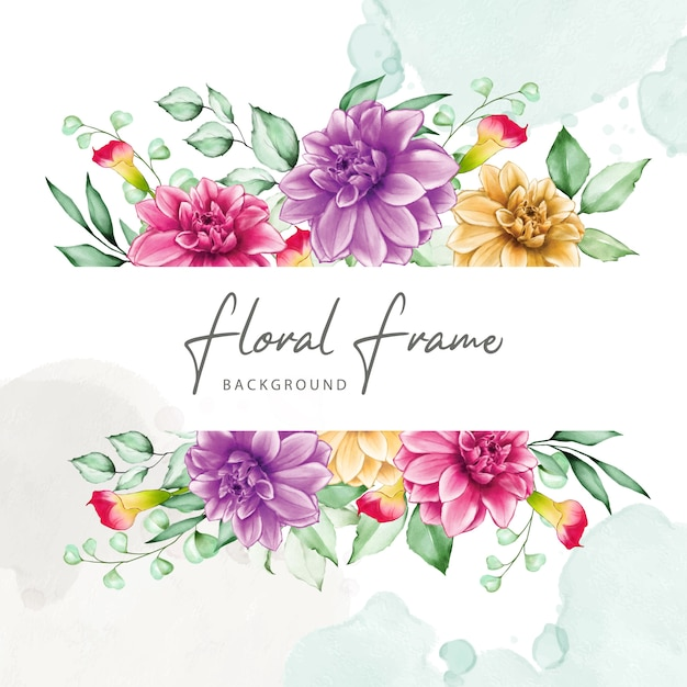 Elegant floral frame with watercolor flowers Premium Vector