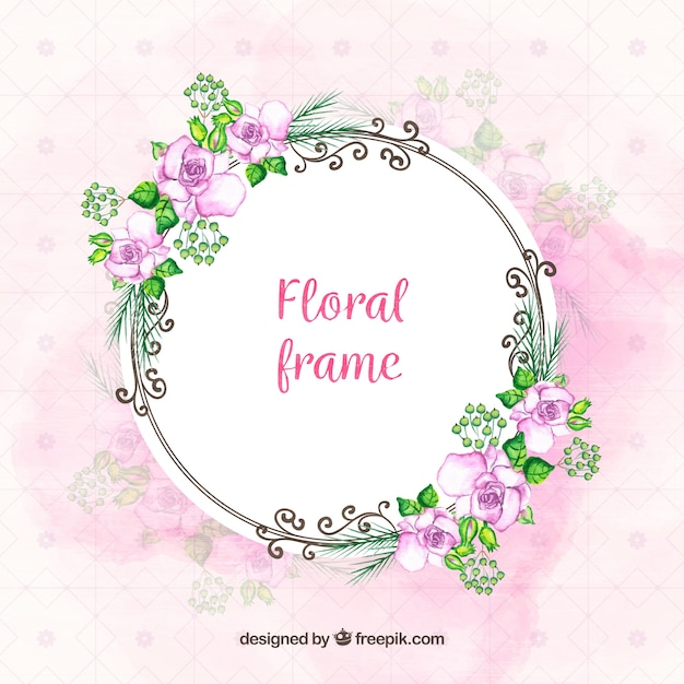 Elegant Floral Frame With Watercolor Flowers Free Vector