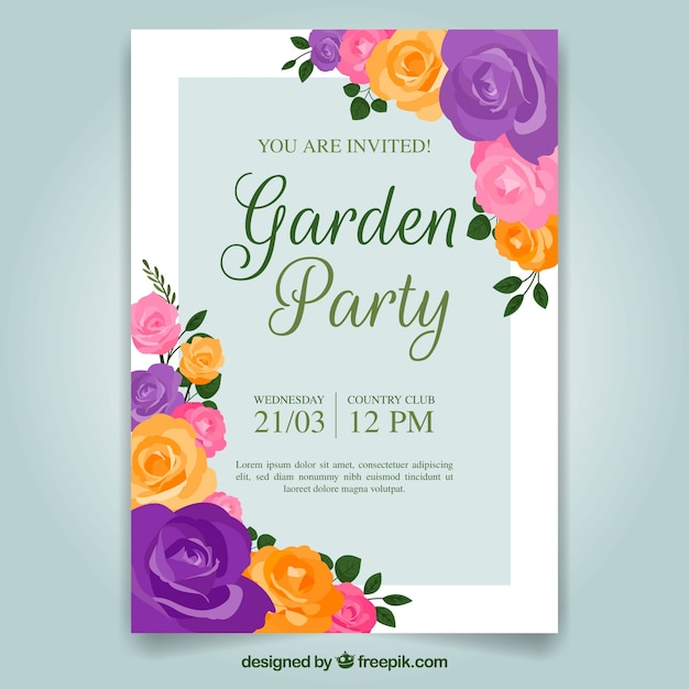 elegant floral garden party invitation template vector free download