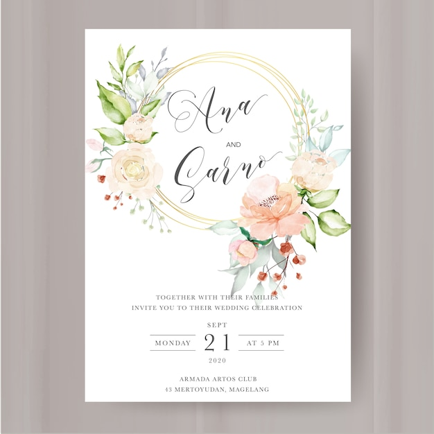 Elegant floral invitation with watercolor flowers frame Premium Vector