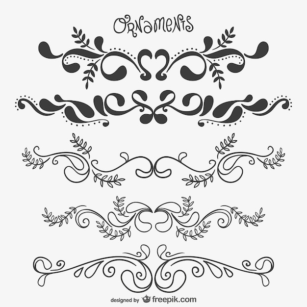 Elegant floral ornaments vector free download