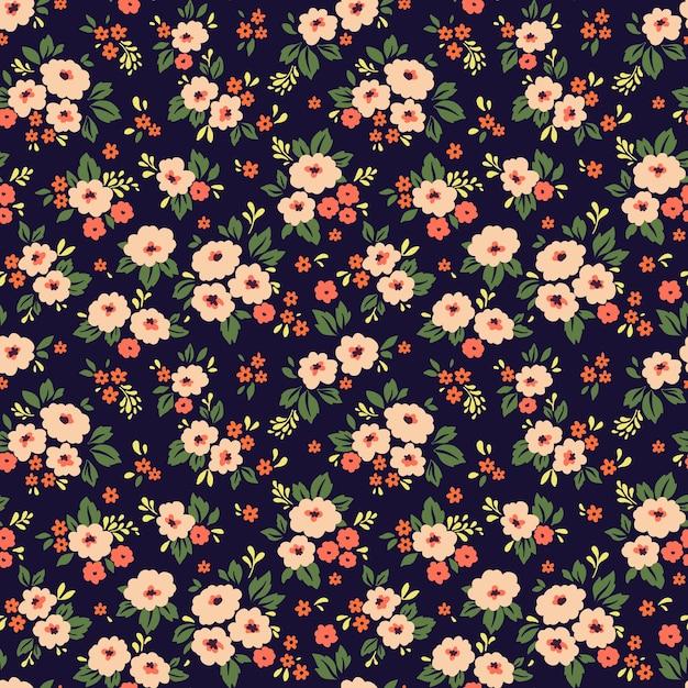 Элегантный цветочный узор из мелких коралловых цветов. бесшовный фон для модной печати. Premium векторы