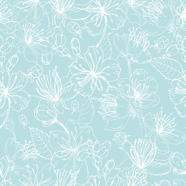 Elegant floral seamless pattern with tender blooming flowers of japanese sakura tree hand drawn with white lines on blue background. illustration for wallpaper, textile print, wrapping paper. Premium Vector