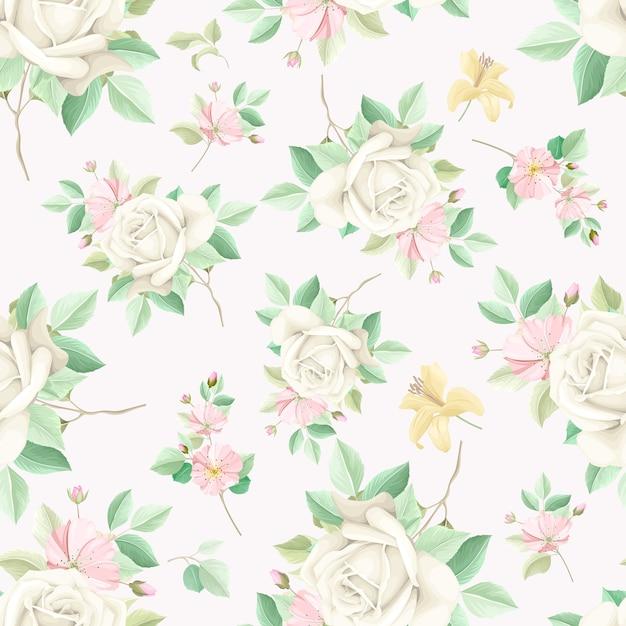 우아한 꽃 원활한 패턴 무료 벡터