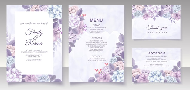 Elegant floral template wedding card Premium Vector