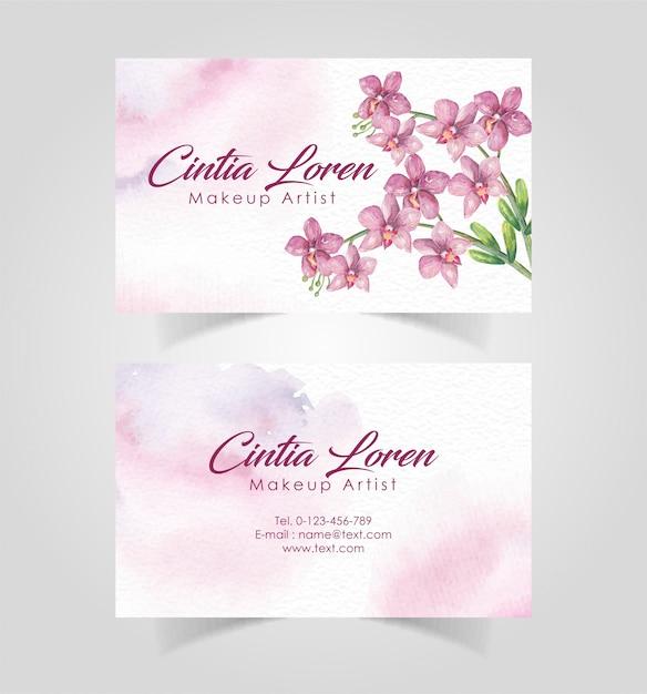 エレガントな花の水彩画名刺テンプレート Premiumベクター