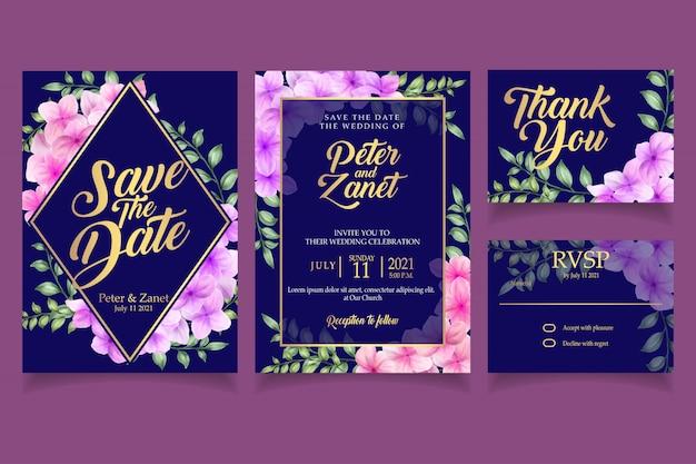 Elegant floral watercolor invitation card template blossom Premium Vector