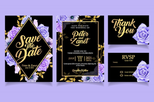 Elegant floral watercolor invitation card template luxury Premium Vector