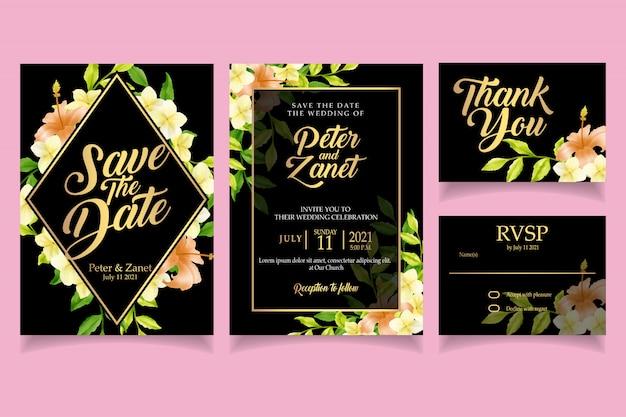 Elegant floral watercolor invitation card template retro Premium Vector