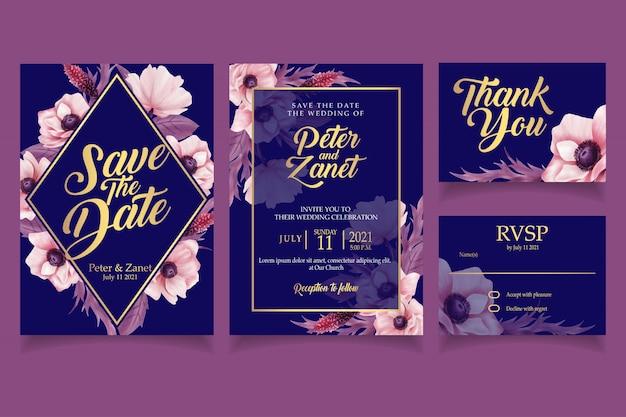 Elegant floral watercolor invitation card template vintage Premium Vector
