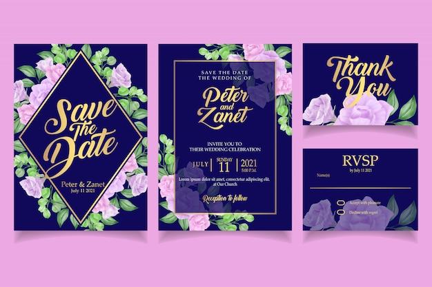 Elegant floral watercolor invitation wedding card template leaves Premium Vector