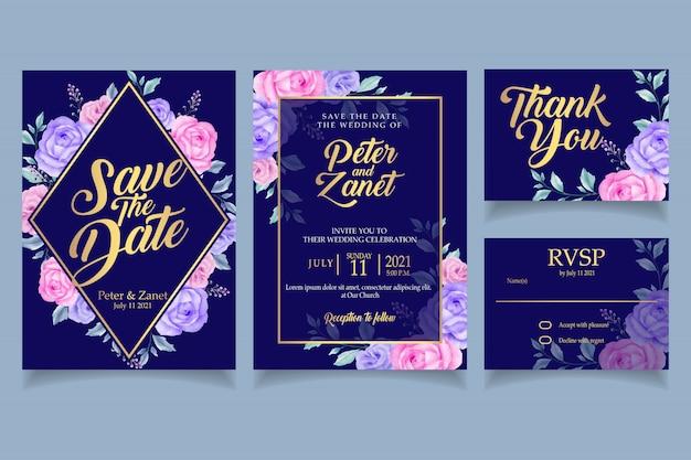 Elegant floral watercolor invitation wedding card template retro Premium Vector