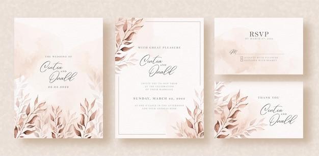 結婚式の招待状の背景にエレガントな花の水彩画 Premiumベクター