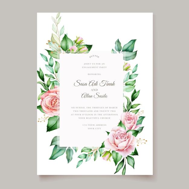 Elegant floral wedding card design Free Vector