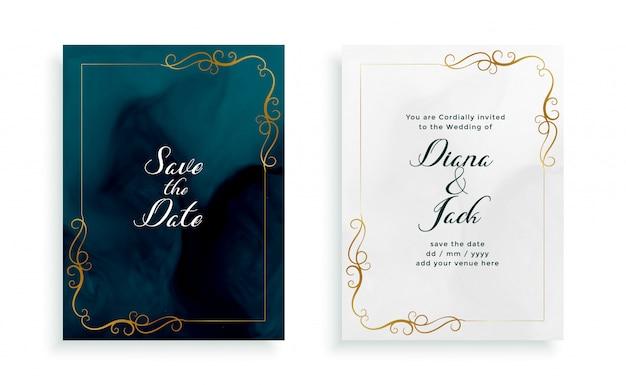 Elegant floral wedding card invitation template Free Vector
