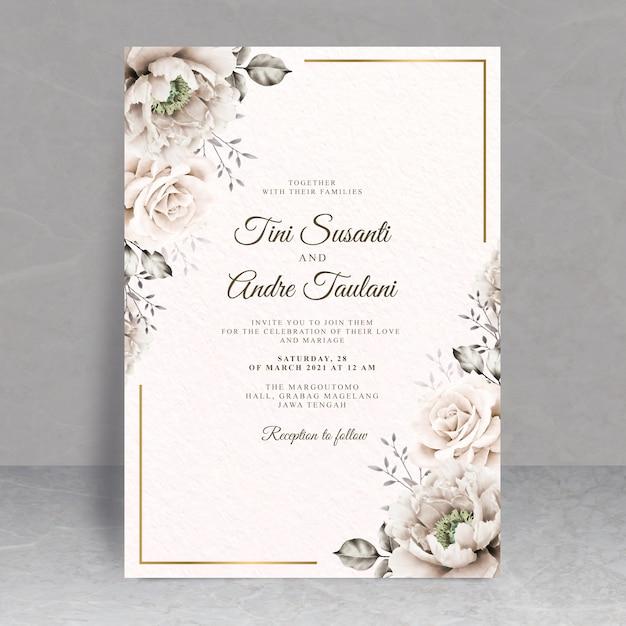 Элегантная цветочная свадебная открытка Premium векторы
