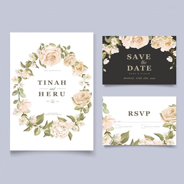 Elegant floral wedding invitation card template Free Vector