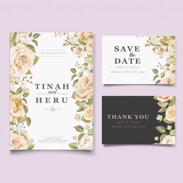 Elegant floral wedding invitation card template Free Vector