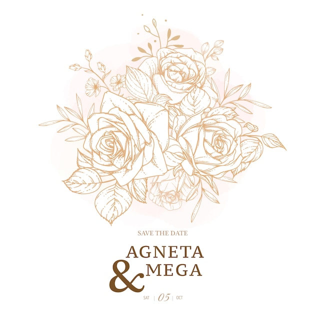 Элегантный цветочный шаблон свадебного приглашения Бесплатные векторы