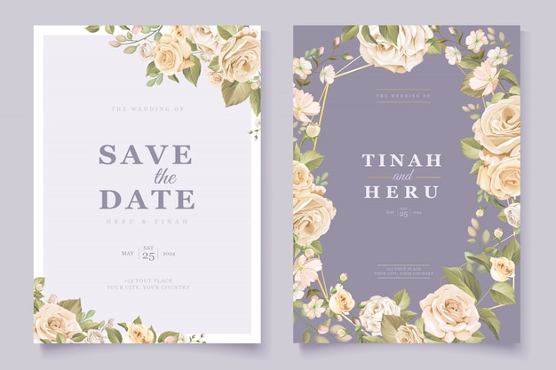 Elegant floral wedding invitation card Free Vector